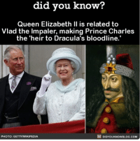 Oh dang! 🦇💉 Dracula thequeen longlivetheking bloodline ➡️📓 Buy our book on Amazon: [LINK IN BIO]: did vou know?  Queen Elizabeth Il is related to  Vlad the Impaler, making Prince Charles  the 'heir to Dracula's bloodline.'  PHOTO: GETTYWIKIPEDIA  DIDYOUKNOWBLOG.COM Oh dang! 🦇💉 Dracula thequeen longlivetheking bloodline ➡️📓 Buy our book on Amazon: [LINK IN BIO]