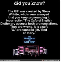"Amazon, Apple, and Facebook: did vou know?  The GIF was created by Steve  Wilhite, who's very annoyed  that you keep pronouncing it  incorrectly: ""The Oxford English  Dictionary accepts both pronunciations.  They are wrong. It is a soft  'G, pronounced jiff.' End  of story  ITS  NOT ""GIF  170 ANNUAL  weBBY  ARDS  PHOTO: DIGITALMEDIAACADEMY  DIDYOUKNOWBLOG.COM No more arguing about this. gif interesting words argument 📢 Share the knowledge! Tag your friends in the comments. ➖➖➖➖➖➖➖➖➖➖➖ Want more Did You Know(s)? ➡📓 Buy our book on Amazon: [LINK IN BIO] ➡📱 Download our App: http:-apple.co-2i9iX0u ➡📩 Get daily text message alerts: http:-Fact-Snacks.com ➡📩 Free email newsletter: http:-DidYouKnowFacts.com-Sign-Up- ➖➖➖➖➖➖➖➖➖➖➖ We post different content across our channels. Follow us so you don't miss out! 📍http:-facebook.com-didyouknowblog 📍http:-twitter.com-didyouknowfacts ➖➖➖➖➖➖➖➖➖➖➖ DYN FACTS TRIVIA TIL DIDYOUKNOW NOWIKNOW"