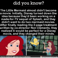 What would life be without Ariel? 🐚 thelittlemermaid ariel mermaid disney princess 📢 Share the knowledge! Tag your friends in the comments. ➖➖➖➖➖➖➖➖➖➖➖ Want more Did You Know(s)? ➡📓 Buy our book on Amazon: [LINK IN BIO] ➡📱 Download our App: http:-apple.co-2i9iX0u ➡📩 Get daily text message alerts: http:-Fact-Snacks.com ➡📩 Free email newsletter: http:-DidYouKnowFacts.com-Sign-Up- ➖➖➖➖➖➖➖➖➖➖➖ We post different content across our channels. Follow us so you don't miss out! 📍http:-facebook.com-didyouknowblog 📍http:-twitter.com-didyouknowfacts ➖➖➖➖➖➖➖➖➖➖➖ DYN FACTS TRIVIA TIL DIDYOUKNOW NOWIKNOW: did vou know?  The Little Mermaid almost didn't become  a movie. Initially, Disney turned down the  idea because they'd been working on a  made-for-TV sequel of Splash, and they  didn't want to do two mermaid movies.  After finally reading the 2-page treatment  written by co-director Ron Clements, they  realized it would be perfect for a Disney  movie, and they changed their minds.  PHOTO: FACEBOOK, @DISNEYTHELITTLEMERMAID  DIDYOUKNOWFACTS.COM What would life be without Ariel? 🐚 thelittlemermaid ariel mermaid disney princess 📢 Share the knowledge! Tag your friends in the comments. ➖➖➖➖➖➖➖➖➖➖➖ Want more Did You Know(s)? ➡📓 Buy our book on Amazon: [LINK IN BIO] ➡📱 Download our App: http:-apple.co-2i9iX0u ➡📩 Get daily text message alerts: http:-Fact-Snacks.com ➡📩 Free email newsletter: http:-DidYouKnowFacts.com-Sign-Up- ➖➖➖➖➖➖➖➖➖➖➖ We post different content across our channels. Follow us so you don't miss out! 📍http:-facebook.com-didyouknowblog 📍http:-twitter.com-didyouknowfacts ➖➖➖➖➖➖➖➖➖➖➖ DYN FACTS TRIVIA TIL DIDYOUKNOW NOWIKNOW