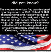 """""""I created the American flag and all I got was this A to show for it."""" 🇺🇸 America americanflag funny interesting grades 📢 Share the knowledge! Tag your friends in the comments. ➖➖➖➖➖➖➖➖➖➖➖ Want more Did You Know(s)? ➡📓 Buy our book on Amazon: [LINK IN BIO] ➡📱 Download our App: http:-apple.co-2i9iX0u ➡📩 Get daily text message alerts: http:-Fact-Snacks.com ➡📩 Free email newsletter: http:-DidYouKnowFacts.com-Sign-Up- ➖➖➖➖➖➖➖➖➖➖➖ We post different content across our channels. Follow us so you don't miss out! 📍http:-facebook.com-didyouknowblog 📍http:-twitter.com-didyouknowfacts ➖➖➖➖➖➖➖➖➖➖➖ DYN FACTS TRIVIA TIL DIDYOUKNOW NOWIKNOW: did vou know?  The modern American flag was designed  by a 17-year-old. In 1958, Robert G. Heft  thought Hawaii and Alaska would soon  become states, so he designed a 50-star  flag for his high school history project.  He got a B-. When President Eisenhower  called to tell him his design had been  officially selected by Congress out of  1,500 others, the teacher changed his  grade to an A  PHOTQ: PURLIGDOMAIN """"I created the American flag and all I got was this A to show for it."""" 🇺🇸 America americanflag funny interesting grades 📢 Share the knowledge! Tag your friends in the comments. ➖➖➖➖➖➖➖➖➖➖➖ Want more Did You Know(s)? ➡📓 Buy our book on Amazon: [LINK IN BIO] ➡📱 Download our App: http:-apple.co-2i9iX0u ➡📩 Get daily text message alerts: http:-Fact-Snacks.com ➡📩 Free email newsletter: http:-DidYouKnowFacts.com-Sign-Up- ➖➖➖➖➖➖➖➖➖➖➖ We post different content across our channels. Follow us so you don't miss out! 📍http:-facebook.com-didyouknowblog 📍http:-twitter.com-didyouknowfacts ➖➖➖➖➖➖➖➖➖➖➖ DYN FACTS TRIVIA TIL DIDYOUKNOW NOWIKNOW"""