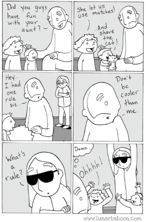 Fun, Com, and One: Did y  have fun  with your  ou auys  She let us  use matches  aun  shave  the  Hey  I had  Don'+  one  rule  SiS  Cooler  Othan  me  What s  amn  0  rule?  www.lunarbaboon.Com aunt