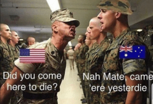 Meirl: Did you come  here to die?  Nah Mate, came  ere yesterdie Meirl