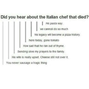 Family, Pizza, and Chef: Did you hear about the Italian chef that died?  He pasta way.  we cannoli do so much  his legacy will become a pizza history.  here today, gone tomato  How sad that he ran out of thyme.  Sending olive my prayers to the family  His wife is really upset. Cheese still not over it  You never sausage a tragic thing The death of an Italian chef