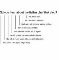 Pizza, Shower, and Tumblr: Did you hear about the Italian chef that died?  I He pasta way.  We cannoli do so much  his legacy will become a pizza history.  here today, gone tomato  How sad that he ran out of thyme.  Sending olive my prayers to the family.  His wife is really upset Cheese still not over it.  You never sausage a tragic thing ima shower and sleep. here's something funny :,)