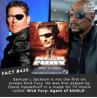 Memes, Movies, and Samuel L. Jackson: DID YOU KN  MOVIE  FACT #426  Samuel L Jackson is not the first on  screen Nick Fury. He was first played by  David Hasselhoff in a made for TV movie  called 'Nick Fury: Agent of SHIELD Re-cast the Avengers with 90's TV stars! 🎥 • • • • Double Tap and Tag someone who needs to know this 👇 All credit to the respective film and producers. movie movies film tv camera cinema fact didyouknow moviefacts cinematography screenplay director actor actress act acting movienight cinemas watchingmovies hollywood bollywood didyouknowmovies