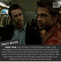 📽️🎬 • • • • Double Tap and Tag someone who needs to know this 👇 All credit to the respective film and producers. Movie Movies Film TV Cinema MovieNight Hollywood Netflix tlotr fightclub edwardnorton bradpitt: DID YOU KN  MOVIES  FACT #1179  Fight Club was filmed in chronological order, and  throughout the filming Edward Norton put himself on a  near-starvation diet and avoided the sun, while Brad Pitt  spent a lot of time at the gym and in tanning salons. The  end result showed Tyler Durden getting stronger and  healthier while the narrator withers away. 📽️🎬 • • • • Double Tap and Tag someone who needs to know this 👇 All credit to the respective film and producers. Movie Movies Film TV Cinema MovieNight Hollywood Netflix tlotr fightclub edwardnorton bradpitt