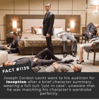 "😎📽️🎬 • • • • Double Tap and Tag someone who needs to know this 👇 All credit to the respective film and producers. Movie Movies Film TV Cinema MovieNight Hollywood Netflix AcademyAwards josephgordenlevitt inception christophernolan leonardodicaprio: DID YOU KNO  MOVIE  FACT #1139  Joseph Gordon-Levitt went to his audition for  Inception after a brief character summary  wearing a full suit ""just in case"", unaware that  he was matching his character's wardrobe  perfectly. 😎📽️🎬 • • • • Double Tap and Tag someone who needs to know this 👇 All credit to the respective film and producers. Movie Movies Film TV Cinema MovieNight Hollywood Netflix AcademyAwards josephgordenlevitt inception christophernolan leonardodicaprio"