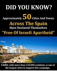 "Memes, Spanish, and Target: DID YOU KNOW?  50  Approximately  Cities And Towns  Across The Spain  Have Declared Themselves  ""Free of Israeli Apartheid""  raelWC  Cadiz, with more than 120,000 residents, is one of  the largest cities to support this campaign. In July 2014, at the height of #Israel's bombardment of #Gaza, courageous Spanish people launched a national campaign targeting local cultural institutions, businesses and associations, asking that they declare themselves ""#Free_Of_Israeli_Apartheid.""  That effort has since grown, in both size and kind. Today, there are more than 50 participating cities and towns across the country. #BDS https://electronicintifada.net/content/israel-lobby-lawsuits-aim-slow-boycott-spain/18341"