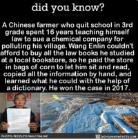 Books, Memes, and School: did you know?  A Chinese farmer who quit school in 3rd  grade spent 16 years teaching himself  law to sue a chemical company for  polluting his village. Wang Enlin couldn't  afford to buy all the law books he studied  at a local bookstore, so he paid the store  in bags of corn to let him sit and read,  copied all the information by hand, and  learned what he could with the help of  a dictionary. He won the case in 2017.  DIDYoukkNowFACTs.coM  PHOTO: PEOPLE'S DAILY ONLINE You can really do anything if you put your mind to it 🙌🏻💯 awesome amazing law lawschool ➡📱Download our free App: [LINK IN BIO]