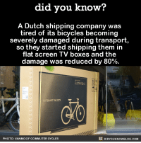 When you get that good idea...💡  Get exclusive Did You Know(s) via text message ➡ http://fact-snacks.com: did you know?  A Dutch shipping company was  tired of its bicycles becoming  severely damaged during transport  so they started shipping them in  flat screen TV boxes and the  damage was reduced by 80%.  OUTSMART THE CITY  DIDYouK Now BLOG coM  PHOTO: VAN MMO OF COMMUTER CYCLE When you get that good idea...💡  Get exclusive Did You Know(s) via text message ➡ http://fact-snacks.com