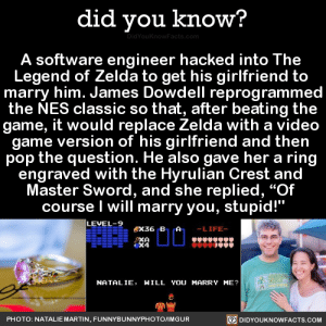 """Gif, Life, and Martin: did you know?  A software engineer hacked into The  Legend of Zelda to get his girlfriend to  marry him. James Dowdell reprogrammed  the NES classic so that, after beating the  game, it would replace Zelda with a video  game version of his girlfriend and then  pop the question. He also gave her a ring  engraved with the Hyrulian Crest and  Master Sword, and she replied, """"Of  course I will marry you, stupid!""""  LEVEL 9ex36  LIFE-  X4  NATALIE, HILL YOU MARRY ME?  鳳ㄚ  DIDYOUKNOWFACTS.CoM  PHOTO: NATALIE MARTIN, FUNNYBUNNYPHOTO/IMGUR melgearsolid:  did-you-kno:  A software engineer hacked into The  Legend of Zelda to get his girlfriend to  marry him. James Dowdell reprogrammed the NES classic so that, after beating the game, it would replace Zelda with a video  game version of his girlfriend and then  pop the question. He also gave her a ring  engraved with the Hyrulian Crest and  Master Sword, and she replied, """"Of  course I will marry you, stupid!""""  Source Source 2  """"hyrulian""""…"""