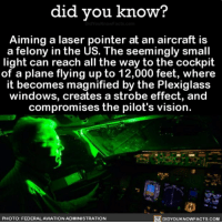Amazon, Memes, and Windows: did you know?  Aiming a laser pointer at an aircraft is  a felony in the US. The seemingly small  light can reach all the way to the cockpit  of a plane flying up to 12,000 feet, where  it becomes magnified by the Plexiglass  windows, creates a strobe effect, and  compromises the pilot's vision.  PHOTO: FEDERALAVIATION ADMINISTRATION  DIDYOUKNOWFACTS.COoM Just say no 👨🏻✈️🙅🏼 airport airplane cockpit laserpointer laws ➡️📓 Buy our book on Amazon: [LINK IN BIO]