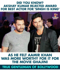 #AkshayKumar #AamirKhan: DID YOU KNOW?  AKSHAY KUMAR REJECTED AWARD  FOR BEST ACTOR FOR 'SINGH IS KING'  LAUGHING  VT F  AS HE FELT AAMIR KHAN  WAS MORE WORTHY FOR IT FOR  THE MOVIE GHAJINI  TRUE GENTLEMAN OF BOLLYWOOD #AkshayKumar #AamirKhan