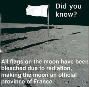 At least something France has won: Did you  know?  All flags on the moon have been  bleached due to radiation,  making the moon an official  province of France. At least something France has won