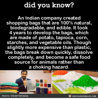 Amazon, Anime, and Dank: did you know?  An Indian company created  shopping bags that are 100% natural  biodegradable, and edible. It took  4 years to develop the bags, which  are made of potato, tapioca, corn,  starches, and vegetable oils. Though  slightly more expensive than plastic  the bags break down quickly, dissolve  completely, and become a safe food  source for animals rather than  a choking hazard  DIDYOUKNOWBLOG.coM  PHOTO: THE BETTER INDIA Very cool! 🛍  Want more Did You Know(s)? ➡ 📓 Buy our book on Amazon: http://amzn.to/2eNRlj1 ➡📱 Get text message alerts: http://fact-snacks.com ➡ 📩  Free email newsletter: http://goo.gl/iRFFE7