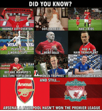 Being Alone, Arsenal, and Club: DID YOU KNOW?  ANCHESTER U  RE  ROONEY LEFT EVERTON  GOT MARRIED  HAD 3 KIDS  IS  PLAYED IN  3 WORLD CUPS  WENT BALD  HAD A  HAIR TRANSPLANT  E EmiratesFAC  BECAME MANUTD'S A  ALL TIME TOP SCORER  WON 16 TROPHIESRETURNED TO EVERTON  AND STILL..  Arsenal  YOULL NEVER WALK ALONE  LIVERPOOL  FOOTBALL CLUB  EST 1892  ARSENAL& LIVERPOOL HASN'T WON THE PREMIER LEAGUE This.. 😂 🔺FREE LIVE FOOTBALL APP -> LINK IN BIO!! Credit ➡️ @thefootballarena