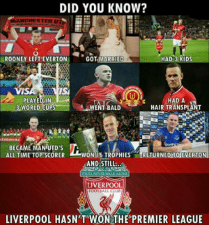 Youll never win anymore: DID YOU KNOW?  ANCHESTER UT  ROONEY LEFT EVERTON  GOT-MARRIE  HAD 3 KIDS  VI  PLAYED IN  3 WORLD CUPS  WENL BALD HIR THADSPL  HAIR TRANSPLANT  Emirats FAC  BECAME MANUTDS  ALL TIME TOP SCORER WON T6 TROPHIESRETURNED TO EVERTON  AND STILL..  ou LL NEVER WALK ALONE  LIVERPOOL  FOOTBALL CLUB  LIVERPOOL HASN'T WON THE PREMIER LEAGUE Youll never win anymore