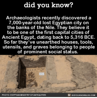 Old AF 🏚  📓Buy the official Did You Know book on Amazon: http://amzn.to/2eNRlj1: did you know?  Archaeologists recently discovered a  7,000-year-old lost Egyptian city on  the banks of the Nile. They believe it  to be one of the first capital cities of  Ancient Egypt, dating back to 5,316 BCE.  So far they've unearthed houses, tools,  utensils, and graves belonging to people  of prominent social status.  DIDYouK Now BLOG coM  PHOTO: EGYPTIAN MINISTRY OFANTIQUITIES Old AF 🏚  📓Buy the official Did You Know book on Amazon: http://amzn.to/2eNRlj1