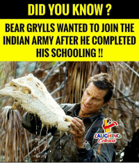 Army, Bear, and Indian: DID YOU KNOW?  BEAR GRYLLS WANTED TO JOIN THE  INDIAN ARMY AFTER HE COMPLETED  HIS SCHOOLING!!  LAUGHING  Colours