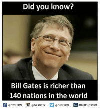 Twitter: BLB247 Snapchat : BELIKEBRO.COM belikebro sarcasm meme Follow @be.like.bro: Did you know?  Bill Gates is richer than  140 nations in the world  @DESIFUNDEIFUN  K @DESIFUN 증@DESIFUN  @DESIFUN DESIFUN.COM Twitter: BLB247 Snapchat : BELIKEBRO.COM belikebro sarcasm meme Follow @be.like.bro