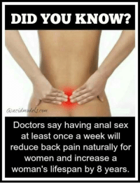 It`s science honey :): DID YOU KNOW?  Ca acidngdelscont  Doctors say having anal sex  at least once a week will  reduce back pain naturally for  women and increase a  woman's lifespan by 8 years It`s science honey :)