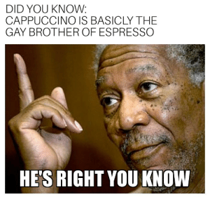 Cappuccino: DID YOU KNOW:  CAPPUCCINO IS BASICLY THE  GAY BROTHER OF ESPRESSO  HE'S RIGHT YOU KNOW Cappuccino
