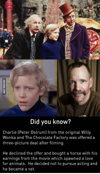 Did you know?  Charlie (Peter Ostrum) from the original Willy  Wonka and The Chocolate Factory was offered a  three-picture deal after filming.  He declined the offer and bought a horse with his  earnings from the movie which spawned a love  for animals. He decided not to pursue acting and  he became a vet.