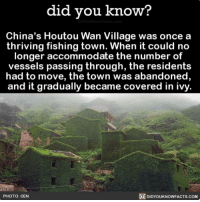Amazon, Beautiful, and Memes: did you know?  China's Houtou Wan Village was once a  thriving fishing town. When it could no  longer accommodate the number of  vessels passing through, the residents  had to move, the town was abandoned,  and it gradually became covered in ivy.  PHOTO: CEN  DIDYOUKNOWFACTS.COM Kind of eerie 🍃 beautiful abandonedplaces abandoned travel ivy ➡️📓 Buy our book on Amazon: [LINK IN BIO]