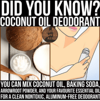 Follow ➡️ @holisticali 5 T Coconut Oil 3 T Baking Soda 2 T Arrowroot (optional) Essential Oils (optional) MIX And Enjoy PLEASE LIKE AND TAG! HolisticAli Deodorant CoconutOil DidYouKnow IG 👉🏽 @realrawtruth FACEBOOK-YOUTUBE-SNAPCHAT 👉🏽 @holisticali SUBSCRIBE TO NEW YOUTUBE LINK IN BIO: DID YOU KNOW?  COCONUT OIL DEODORANT  IG/FB  HOLISTIC  ALI  YOU CAN MIX COCONUT OIL, BAKING SODA,  ARROWROOT POWDER, AND YOUR FAVOURITE ESSENTIAL OIL  FOR A CLEAN NONTOXIC, ALUMINUM-FREE DEODORANT Follow ➡️ @holisticali 5 T Coconut Oil 3 T Baking Soda 2 T Arrowroot (optional) Essential Oils (optional) MIX And Enjoy PLEASE LIKE AND TAG! HolisticAli Deodorant CoconutOil DidYouKnow IG 👉🏽 @realrawtruth FACEBOOK-YOUTUBE-SNAPCHAT 👉🏽 @holisticali SUBSCRIBE TO NEW YOUTUBE LINK IN BIO