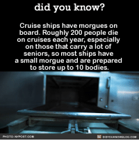 Bodies , Dank, and Ups: did you know?  Cruise ships have morgues on  board. Roughly 200 people die  on cruises each year, especially  on those that carry a lot of  seniors, so most ships have  a small morgue and are prepared  to store up to 10 bodies.  DIDYoukNowBLOG.coM  PHOTO: NYPOST.COM Happy cruising! 🚢  Get free Did You Know(s) via email ➡ http://goo.gl/iRFFE7