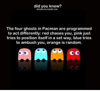 Funny, Blue, and Orange: did you know?  did-you-kno.tumbir.com  The four ghosts in Pacman are programmed  to act differently: red chases you, pink just  tries to position itself in a set way, blue tries  to ambush you, orange is random.