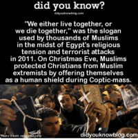 "Powerful stuff 🎄❤ christmaseve love ➡📱Download our free App: [LINK IN BIO]: did you know?  did you knowblog.com  ""We either live together, or  we die together,"" was the slogan  used by thousands of Muslims  in the midst of Egypt's religious  tension and terrorist attacks  in 2011. On Christmas Eve, Muslims  protected Christians from Muslim  extremists by offering themselves  as a human shield during Coptic-mass.  Com  Photo Credit: veteranstoday Powerful stuff 🎄❤ christmaseve love ➡📱Download our free App: [LINK IN BIO]"