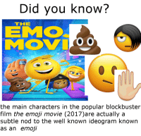 Blockbuster, Emo, and Emoji: Did you know?  EMO  THE  o O  the main characters in the popular blockbuster  film the emoji movie (2017)are actually a  subtle nod to the well known ideogram known  as an emoji