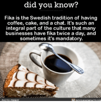 Everyone deserves mandatory Fika. 🍰☕️ coffee fika cake mandatory interesting 📢 Share the knowledge! Tag your friends in the comments. ➖➖➖➖➖➖➖➖➖➖➖ Want more Did You Know(s)? ➡📓 Buy our book on Amazon: [LINK IN BIO] ➡📱 Download our App: http:-apple.co-2i9iX0u ➡📩 Get daily text message alerts: http:-Fact-Snacks.com ➡📩 Free email newsletter: http:-DidYouKnowFacts.com-Sign-Up- ➖➖➖➖➖➖➖➖➖➖➖ We post different content across our channels. Follow us so you don't miss out! 📍http:-facebook.com-didyouknowblog 📍http:-twitter.com-didyouknowfacts ➖➖➖➖➖➖➖➖➖➖➖ DYN FACTS TRIVIA TIL DIDYOUKNOW NOWIKNOW: did you know?  Fika is the Swedish tradition of having  coffee, cake, and a chat. It's such an  integral part of the culture that many  businesses have fika twice a day, and  sometimes it's mandatory.  PHOTO: PIXABAY  DIDYOUKNOWFACTS.CO Everyone deserves mandatory Fika. 🍰☕️ coffee fika cake mandatory interesting 📢 Share the knowledge! Tag your friends in the comments. ➖➖➖➖➖➖➖➖➖➖➖ Want more Did You Know(s)? ➡📓 Buy our book on Amazon: [LINK IN BIO] ➡📱 Download our App: http:-apple.co-2i9iX0u ➡📩 Get daily text message alerts: http:-Fact-Snacks.com ➡📩 Free email newsletter: http:-DidYouKnowFacts.com-Sign-Up- ➖➖➖➖➖➖➖➖➖➖➖ We post different content across our channels. Follow us so you don't miss out! 📍http:-facebook.com-didyouknowblog 📍http:-twitter.com-didyouknowfacts ➖➖➖➖➖➖➖➖➖➖➖ DYN FACTS TRIVIA TIL DIDYOUKNOW NOWIKNOW