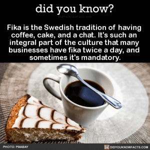 "setheverman: did-you-kno:  Fika is the Swedish tradition of having  coffee, cake, and a chat. It's such an  integral part of the culture that many  businesses have fika twice a day, and  sometimes it's mandatory.    Source Source 2 According to IKEA's corporate website: ""Some of the best ideas and decisions happen at fika.""  so after reblogging this to find out if other countries had this as well, i found out the following:  germany: yeah we have something similar called ""Kaffee und Kuchen"" :)  america: i work 16 hours per day at minimum wage and get a 7 minute unpaid lunch break, and instead of ""fika"" i have ""suffering"" and ""death"" : did you know?  Fika is the Swedish tradition of having  coffee, cake, and a chat. It's such an  integral part of the culture that many  businesses have fika twice a day, and  sometimes it's mandatory  PHOTO: PIXABAY  DIDYOUKNOWFACTS.CoM setheverman: did-you-kno:  Fika is the Swedish tradition of having  coffee, cake, and a chat. It's such an  integral part of the culture that many  businesses have fika twice a day, and  sometimes it's mandatory.    Source Source 2 According to IKEA's corporate website: ""Some of the best ideas and decisions happen at fika.""  so after reblogging this to find out if other countries had this as well, i found out the following:  germany: yeah we have something similar called ""Kaffee und Kuchen"" :)  america: i work 16 hours per day at minimum wage and get a 7 minute unpaid lunch break, and instead of ""fika"" i have ""suffering"" and ""death"""