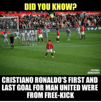 Back in the day 🚀🎯: DID YOU KNOW?  FOOTBALL  MEMESINSTA  CRISTIANO RONALDO'S FIRST AND  LAST GOAL FOR MAN UNITED WERE  FROM FREE KICK Back in the day 🚀🎯