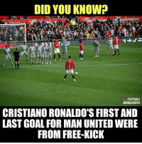 Football, Memes, and Free: DID YOU KNOW?  FOOTBALL  MEMESINSTA  CRISTIANO RONALDO'S FIRST AND  LAST GOAL FOR MAN UNITED WERE  FROM FREE-KICK