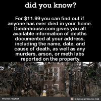 So worth it! 🏡  Subscribe and get Did You Know​(s) texted directly to you ➡ https://fact-snacks.com: did you know?  For $11.99 you can find out if  anyone has ever died in your home.  Diedinhouse.com gives you all  available information of deaths  documented at your address,  including the name, date, and  cause of death, as well as any  murders, arson, or meth labs  reported on the property  DIDYOUKNOWBLOG.coM  PHOTO: FAN POP So worth it! 🏡  Subscribe and get Did You Know​(s) texted directly to you ➡ https://fact-snacks.com