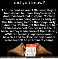 Fortune cookie knowledge 💯 fortunecookiesdontlie fortunecookie interesting japan ➡📱Download our free App: http:-apple.co-2i9iX0u: did you know?  Fortune cookies aren't Chinese, they're  from Japan. In China, they're seen as  American food, but in Japan, fortune  crackers' were being made as early as  the 1840s-long before their popularity  in America. It's thought that they are tied  to Chinese-owned businesses in the US  because they made more of them during  WWll, while many Japanese-owned  bakeries had to close as their owners  were sent off to internment camps.  K DIDYOUKNOWFACTS CON  PHOTO: KO SASAKITTHENEWYORK TIMES Fortune cookie knowledge 💯 fortunecookiesdontlie fortunecookie interesting japan ➡📱Download our free App: http:-apple.co-2i9iX0u