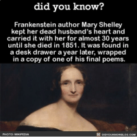 Memes, Desk, and Poems: did you know?  Frankenstein author Mary Shelley  kept her dead husband's heart and  carried it with her for almost 30 years  until she died in 1851. It was found in  a desk drawer a year later, wrapped  in a copy of one of his final poems.  DIDYOUKNOWBLOG.coM  PHOTO: WMKIPEDIA Dang girl, you emo AF 😳😩❤ wow crazy emo emogirl ➡📱Download our free App: [LINK IN BIO]
