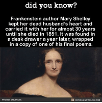 Amazon, Apple, and Emo: did you know?  Frankenstein author Mary Shelley  kept her dead husband's heart and  carried it with her for almost 30 vears  until she died in 1851. It was found in  a desk drawer a year later, wrapped  in a copy of one of his final poems.  PHOTO: WIKIPEDIA  DIDYOUKNOWBLOG.COM This is next level emo. 😳 wow frankenstein author interesting emo 📢 Share the knowledge! Tag your friends in the comments. ➖➖➖➖➖➖➖➖➖➖➖ Want more Did You Know(s)? ➡📓 Buy our book on Amazon: [LINK IN BIO] ➡📱 Download our App: http:-apple.co-2i9iX0u ➡📩 Get daily text message alerts: http:-Fact-Snacks.com ➡📩 Free email newsletter: http:-DidYouKnowFacts.com-Sign-Up- ➖➖➖➖➖➖➖➖➖➖➖ We post different content across our channels. Follow us so you don't miss out! 📍http:-facebook.com-didyouknowblog 📍http:-twitter.com-didyouknowfacts ➖➖➖➖➖➖➖➖➖➖➖ DYN FACTS TRIVIA TIL DIDYOUKNOW NOWIKNOW