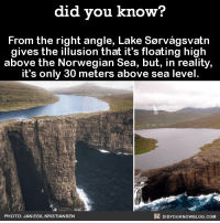 Dank, Facts, and Texting: did you know?  From the right angle, Lake Sorvagsvatn  gives the illusion that it's floating high  above the Norwegian Sea, but, in reality,  it's only 30 meters above sea level  DIDYouK Now BLOG coM  PHOTO: JAN EGIL KRISTIANSEN This illusion is 🔥🔥🔥  Want more Did You Know's? Sign-up below... ➡ Text message alerts: http://fact-snacks.com ➡ Email: http://goo.gl/iRFFE7