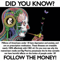 Anaconda, Brains, and Click: DID YOU KNOW?  G STANDUP9II  Millions of Americans under 18 have depression and anxiety, and  are on prescription medication. These illnesses are treatable  nearly 100% effectively with CBD oil. Do you now see why the  mainstream media and Big Pharma perpetuate the lie that cannabis  can  have harmful effects on the brains of people under 18?  FOLLOW THE MONEY! Follow 👉 @standup911 - This is probably one of the more frequently asked questions i am asked about when interested in my CBD oil, and anyone who has met me at a event knows that's i have anxiety and that the CBD oil helps me drastically. Big pharmaceutical companies want you to take a bunch of pills with a million side effects and then watch you drink it with diet aids killing off all your brain cells. I just want to hook you up with some natural organic herbs and call it a day. Follow the money! I'm here genuinely trying to help save lives. Big pharmaceutical is trying to take your life and extract every penny out of it. - Click the link in my bio 👉 Store 👉Holistic health and i have all the CBD oil products listed and they are all on sale. - If you have any questions please ask away. I just posted in my stores a question post thingy lol. - bethechange standup911 fuckthesystem cannabis cbd cbdoil @nuleafnaturals holistichealth vegan organic sungrown