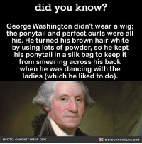 Who knew George was so extra? 💅🏼🕺🏼 wig hair funny georgewashington president: did you know?  George Washington didn't wear a wig;  the ponytail and perfect curls were all  his. He turned his brown hair white  by using lots of powder, so he kept  his ponytail in a silk bag to keep it  from smearing across his back  when he was dancing with the  ladies (which he liked to do).  PHOTO: ONPOINT WBUR.ORG  國DIDYOUKNOWBLOG.COM Who knew George was so extra? 💅🏼🕺🏼 wig hair funny georgewashington president