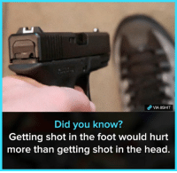 Head, Memes, and True: Did you know?  Getting shot in the foot would hurt  more than getting shot in the head. True.   Join our group 8Shit Memes ✨