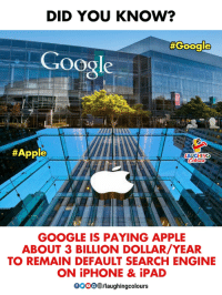 Apple, Google, and Ipad: DID YOU KNOW?  #Google  Google  #Apple  LAUGHING  GOOGLE IS PAYING APPLE  ABOUT 3 BILLION DOLLAR/YEAR  TO REMAIN DEFAULT SEARCH ENGINE  ON iPHONE & iPAD  0o00/laughingcolours
