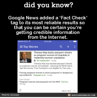 "Dank, Facts, and Google: did you know?  Google News added a Fact Check'  tag to its most reliable results so  that you can be certain you're  getting credible information  from the Internet.  AT&T  9:12 A  Top Stories  a  E Theresa May backs passport checks  on pregnant women at hospitals in  ""maternity tourism crackdown  O The Independent  1d ago  Theresa May has backed passport checks  on pregnant women at hospitals insisting the NHS had to  rget the money from foreigners not eligible for free care.  Forcing pregnant women to show passports is dangerous,  say midwives  Telegraph.co.uk 1d ago  Fact Check  Pregnant women and passports for the NHS-Full Fact  22h ago  Show less  DIDYoukNowBLOG.coM  PHOTO: GOOGLE Just incase you want to get your 'fact checking' on! ✔️  FYI, we post different content on Instagram, follow us here: http://instagram.com/didyouknowblog ☚"