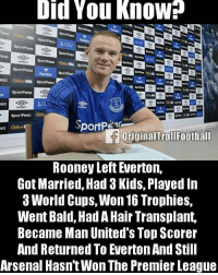 Arsenal, Everton, and Memes: Did You Know  HILL  ro  esa  esa  sa  originalTrollFootball  sa  Rooney Left Everton,  Got Married, Had 3 Kids, Played In  3 World Cups, Won 16 Trophies,  Went Bald, Had A Hair Transplant,  Became Man United's Top Scorer  And Returned To Everton And Still  Arsenal Hasn't Won The Premier League Tag Arsenal Fans👇🏻😂 ➡️ Credit: OriginalTrollFootball