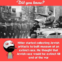 Memes, 🤖, and Extinction: Did you know?  Hitler started collecting Jewish  artifacts to built museum of an  extinct race. He thought that  Jewish race would be extinct till  end of the war Twitter: BLB247 Snapchat : BELIKEBRO.COM belikebro sarcasm Follow @be.like.bro