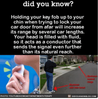 Life Hack ✔️ lifehack cars interesting hack ➡️📓 Buy our book on Amazon: [LINK IN BIO]: did you know?  Holding your key fob up to your  chin when trying to lock your  car door from afar will increase  its range by several car lengths.  Your head is filled with fluid,  so it acts as a conductor that  sends the signal even further  than its natural reach.  Maximum  normal  range  Mazimum  rith chin boost  PHOTO: YOUTUBE/HOWCASTIAPARTMENTHTERAPY  区E DIDYOUKNOWBLOG.COM Life Hack ✔️ lifehack cars interesting hack ➡️📓 Buy our book on Amazon: [LINK IN BIO]